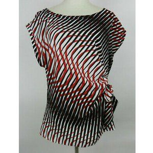 New York & Co XL Blouse Black Red Geometric Ruched